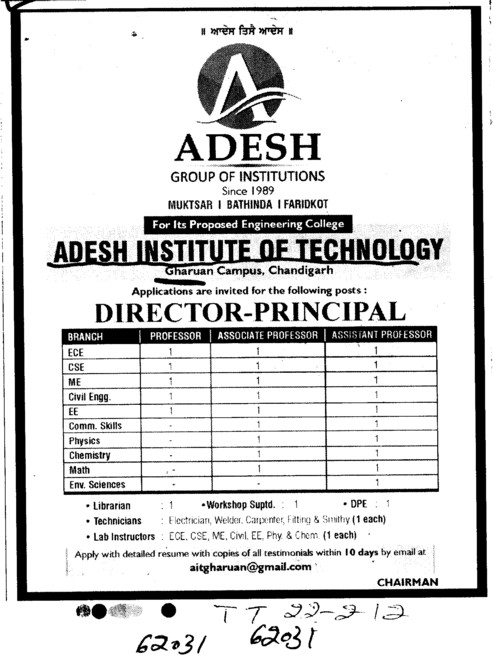 Director Principal Professors and Associate Professors etc (Adesh Institute of Technology)
