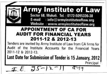 Appointment of CA for Audit for Financial years 2011 2012 (Army Institute of Law)