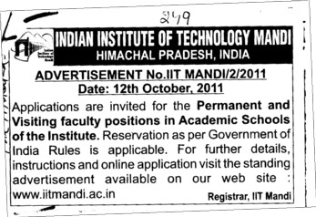 Permanent and Visiting faculty positions in Academic Schools of the institute (Army Institute of Law)