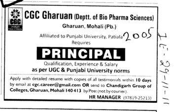 Principal required (Chandigarh Group of Colleges)