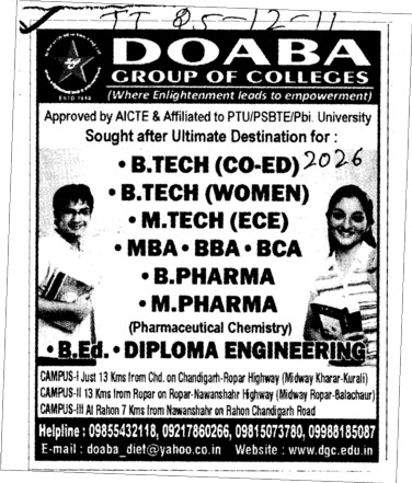 BTech and B Pharma etc (Doaba Group of Colleges (DGC))