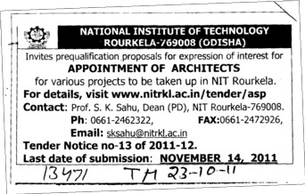 Appointment of Architects (National Institute of Technology (NIT))