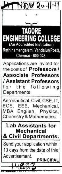 Professor,Assistant Professor and Lecturer (Tagore Engineering College)