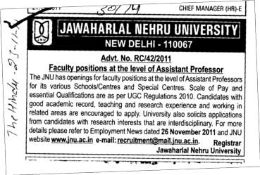 Assistant Professor required (Jawaharlal Nehru University)