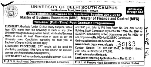 Post Graduate Programmes (Delhi University)