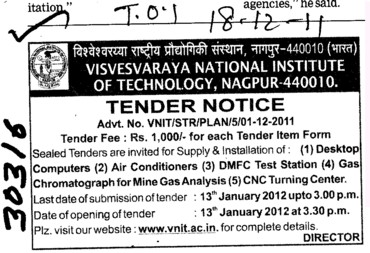 Supply and Installation of Computers and Air Conditioners etc (Visvesvaraya National Institute of Technology (VNIT))