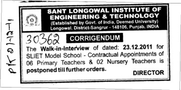 Change in the Date (Sant Longowal Institute of Engineering and Technology SLIET)