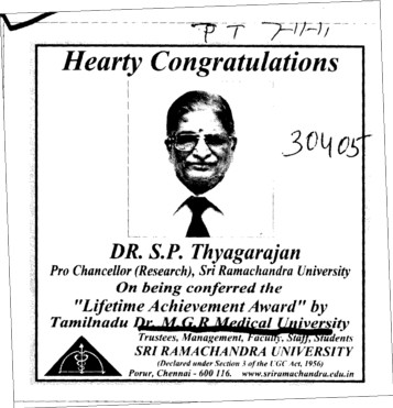 Hearty Congratulations Dr S P Thyagarajan (Tamil Nadu Dr MGR Medical University)