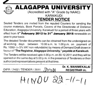Book Parcels and Covers etc (Alagappa University)
