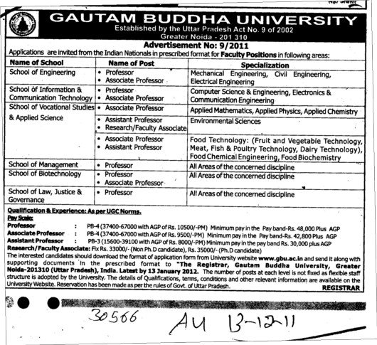 Professor Assistant Professor and Associate Professor etc (Gautam Buddha University (GBU))