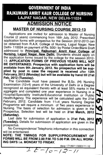 Master of Nursing Course (Rajkumari Amrit Kaur College Of Nursing)
