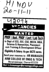 Professor,Lecturer and Lab Technician etc (ARM College of Engineering and Technology)