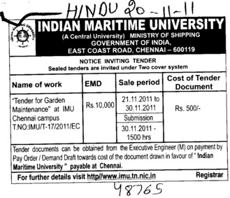 Garden Maintenance (Indian Maritime University)