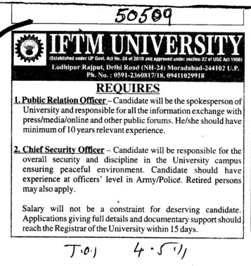 Public Relation Officer and Chief Security Officer (IFTM University)