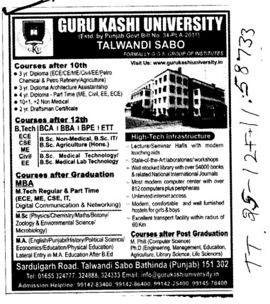 BTech,BCA,BBA and ,ETT etc (Guru Kashi University)