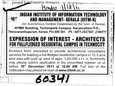 Architects for Fullfledged Residential Campus in Technocity (Indian Institute of Information Technology and Management)