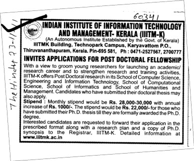Post Doctoral Fellowship (Indian Institute of Information Technology and Management)