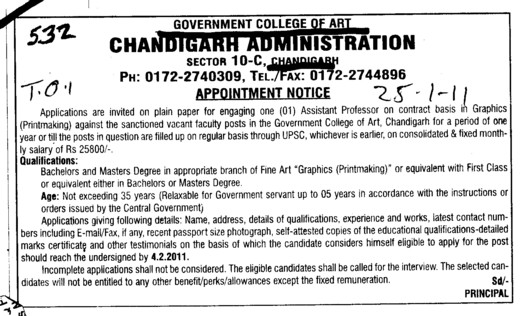 Assistant Professor on contract basis (Government College of Art)