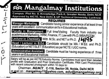 Manager Marketing and Lecturers in Chemistry etc (Mangalmay Institute of Management and Technology (MIMT))