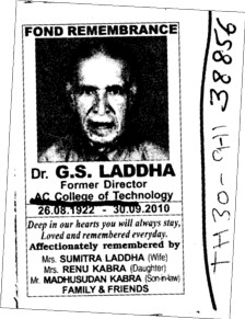 Fond Remembrance of Dr G S Laddha (AC College of Technology)