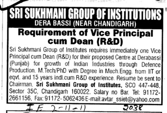 Vice Principal cum Dean (Sri Sukhmani Group of Institutes)
