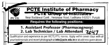 Assistant Professor and Lab Technician (PCTE Group of Insitutes Baddowal)
