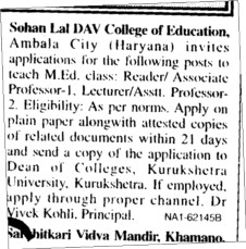 Professor Astt Professor and Lecturers etc (Sohan Lal DAV College of Education)