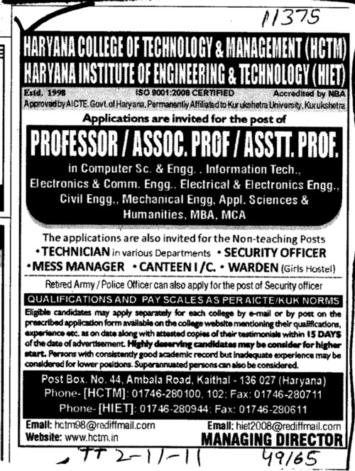 Professor Astt Professor and Lecturers etc (Haryana College of Technology and Management (HCTM))