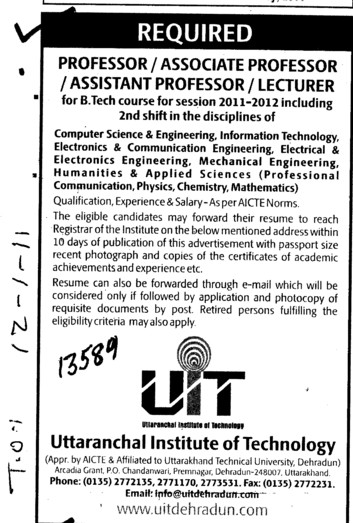 Professor Assistant Professor and Lecturers etc (Uttaranchal Institute of Technology (UIT))