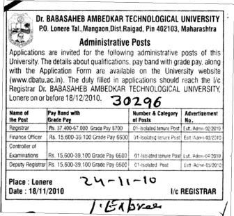 Administrative Posts (Dr Babasaheb Ambedkar Technological University, Lonere)