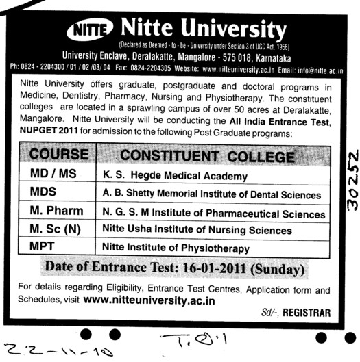 MD,MS,MPharm and MPT Courses (Gulbarga University)