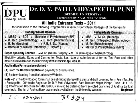 MBBS,BDS,BSc and BTech Courses (Dr DY Patil University)