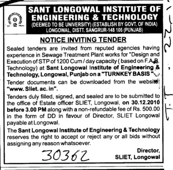 Sewage Treatment Plant works for Design and Execution (Sant Longowal Institute of Engineering and Technology SLIET)