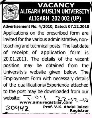 Teaching and Technical posts (Aligarh Muslim University (AMU))