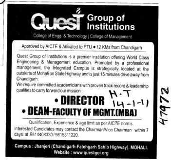 Director and Dean Faculty of MGMT MBA (Quest Group of Institutions)