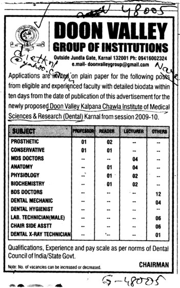 Professor Reader and Lecturer etc (Doon Valley Group of Institutes)