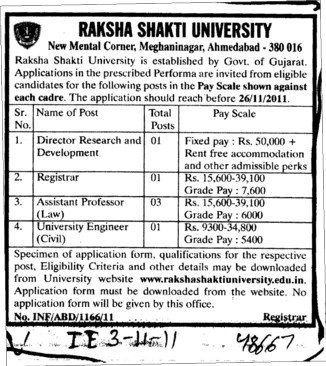 Director Registrar and Assistant Professor etc (Raksha Shakti University)