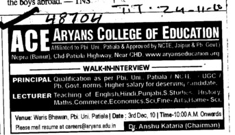 Principal and Lecturers (Aryans College of Education)