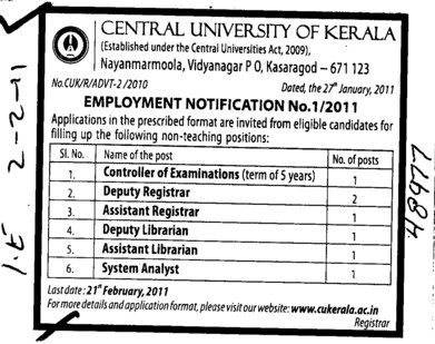 Deputy Registrar and System Analyst etc (Central University of Kerala)