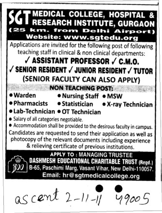 Assistant Professor and Senior Resident etc (SGT Medical College)