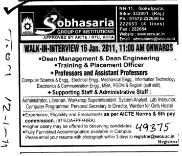 Professor and Assistant Professor etc (Sobhasaria Group of Institution)