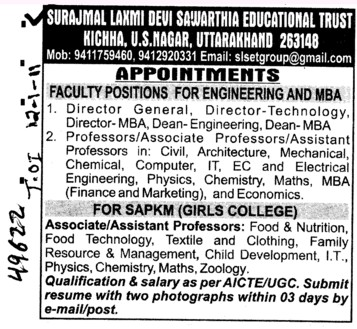Faculty Position for Engineering and MBA (Surajmal Laxmi Devi Sawarthia)