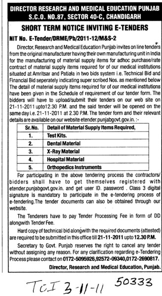 Dental Materials and Hospital Material etc (Director Research and Medical Education DRME Punjab)