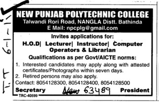 HOD,Lecturer and Instructor etc (New Punjab Polytechnic College Nangla)