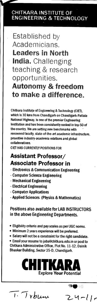 Assistant Professor and Associate Professor required (Chitkara Institute of Engineering and Technology)