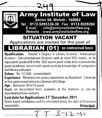 Librarian required (Army Institute of Law)