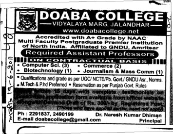 Assistant Professor required (Doaba College)