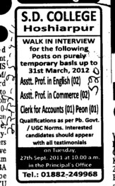 Assistant Professor in Commerce and English etc (SD College)