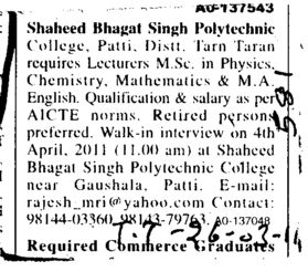 Lecturer required (Shaheed Bhagat Singh Polytechnic)