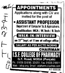 Assistant Professor required (ISF College of Pharmacy)
